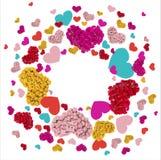 Tarjeta de felicitación con los ramos coloridos de rosas Fotos de archivo