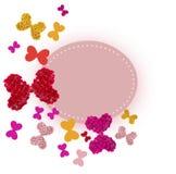 Tarjeta de felicitación con los ramos coloridos de rosas Imagenes de archivo