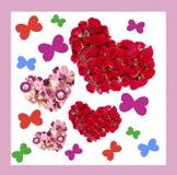 Tarjeta de felicitación con los ramos coloridos de rosas Fotografía de archivo libre de regalías
