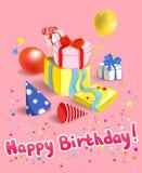 Tarjeta de felicitación con los regalos Imagen de archivo libre de regalías