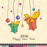 Tarjeta de felicitación con los regalos por Feliz Año Nuevo Foto de archivo libre de regalías