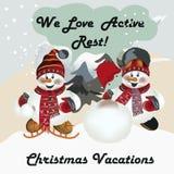 Tarjeta de felicitación con los snowmens lindos Amamos resto activo stock de ilustración