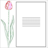 Tarjeta de felicitación con los tulipanes ilustración del vector