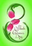 Tarjeta de felicitación con mujeres internacionales día el 8 de marzo Imágenes de archivo libres de regalías