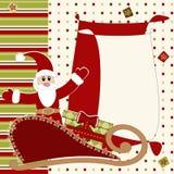 Tarjeta de felicitación con Papá Noel Imágenes de archivo libres de regalías