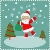 Tarjeta de felicitación con Papá Noel feliz stock de ilustración
