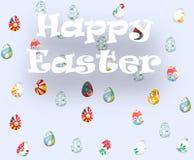 Tarjeta de felicitación con Pascua feliz y lluvia con los huevos de Pascua Foto de archivo