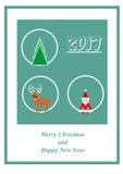 Tarjeta de felicitación con Santa Claus, el árbol de navidad, los ciervos y 2017 ilustración del vector