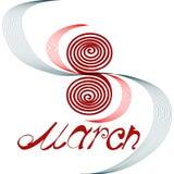 Tarjeta de felicitación con texto el 8 de marzo Imágenes de archivo libres de regalías