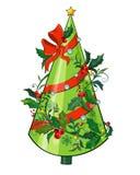 Tarjeta de felicitación con un árbol de navidad adornado Fotos de archivo libres de regalías