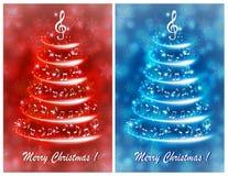 Tarjeta de felicitación con un árbol de navidad musical abstracto, con las notas y la clave de sol ilustración del vector