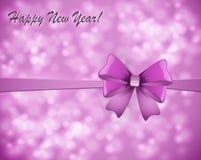 Tarjeta de felicitación con un arco en un fondo rosado stock de ilustración