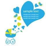 Tarjeta de felicitación con un carro de bebé, para el bebé Fotografía de archivo libre de regalías