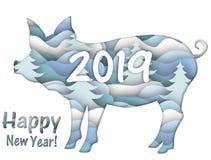 Tarjeta de felicitación con un cerdo del Año Nuevo libre illustration