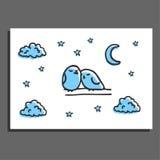 Tarjeta de felicitación con un par de pájaros y de estrellas el dormir Foto de archivo