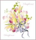 Tarjeta de felicitación con un ramo de orquídeas. Fotos de archivo