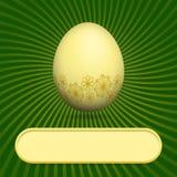 Tarjeta de felicitación con verde del huevo de Pascua Foto de archivo libre de regalías