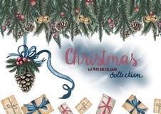 Tarjeta de felicitación Cono del pino con una cinta, cajas de regalo y ramas adornadas del pino en el top stock de ilustración