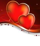 Tarjeta de felicitación. Corazón en un fondo púrpura Imagen de archivo
