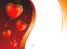 Tarjeta de felicitación. Corazón en un fondo púrpura Fotografía de archivo libre de regalías