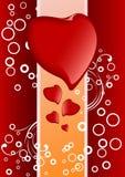 Tarjeta de felicitación creativa de la tarjeta del día de San Valentín con los corazones y los círculos, vector Fotos de archivo