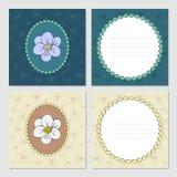 Tarjeta de felicitación cuadrada del vector con las flores stock de ilustración