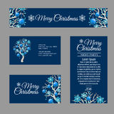 Tarjeta de felicitación cuatro con el árbol de navidad elegante Imagenes de archivo