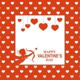 Tarjeta de felicitación de día de San Valentín con el cupido fotos de archivo