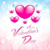 Tarjeta de felicitación de día de San Valentín con rosa del corazón y azul felices imágenes de archivo libres de regalías