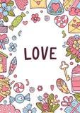 Tarjeta de felicitación de día de San Valentín fijada con los corazones Oro, negro, rosa, colores blancos Etiquetas del regalo co ilustración del vector