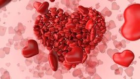 tarjeta de felicitación 3d para el día de tarjeta del día de San Valentín con los corazones stock de ilustración