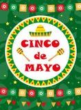 Tarjeta de felicitación de Cinco de Mayo, plantilla para el aviador, cartel, invitación Celebración mexicana con símbolos tradici ilustración del vector
