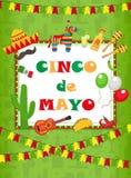 Tarjeta de felicitación de Cinco de Mayo, plantilla para el aviador, cartel, invitación Celebración mexicana con símbolos tradici
