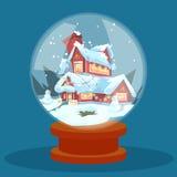 Tarjeta de felicitación de Eve Holiday House Winter Snow de la Navidad de la bola de cristal del deseo Fotografía de archivo libre de regalías