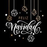 Tarjeta de felicitación de Feliz Navidad Merry Spanish Christmas Fotos de archivo libres de regalías