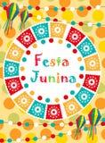 Tarjeta de felicitación de Festa Junina, invitación, cartel Plantilla latinoamericana brasileña del festival para su diseño Vecto Foto de archivo libre de regalías