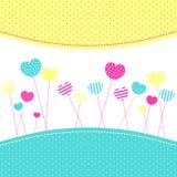 Tarjeta de felicitación de Frienship de los Lollipops del corazón Imagen de archivo libre de regalías