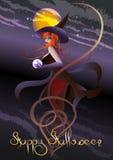 La bruja con una bola de cristal Imagenes de archivo