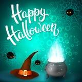 Tarjeta de felicitación de Halloween con la caldera de la bruja, el sombrero, las letras enojadas de las arañas, de la red y del  Imagen de archivo libre de regalías