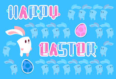 Tarjeta de felicitación de la bandera del día de fiesta de Bunny Colorful Eggs Happy Easter del conejo Fotografía de archivo libre de regalías