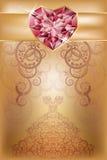 Tarjeta de felicitación de la boda con el corazón de rubíes Imagen de archivo libre de regalías