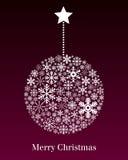Tarjeta de felicitación de la bola de la Navidad Fotografía de archivo libre de regalías