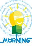 Tarjeta de felicitación de la buena mañana, cartel, impresión Vector el fondo con las letras de la mano, rayos del sol Imagen de archivo