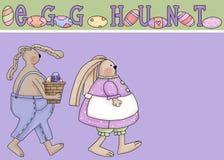 Tarjeta de felicitación de la caza del huevo de Pascua Imágenes de archivo libres de regalías