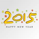 Tarjeta 2015 de felicitación de la celebración de la Feliz Año Nuevo Imágenes de archivo libres de regalías