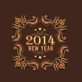 Tarjeta 2015 de felicitación de la celebración de la Feliz Año Nuevo con diseño floral Fotografía de archivo