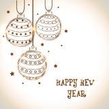 Tarjeta 2015 de felicitación de la celebración de la Feliz Año Nuevo con las bolas de Navidad Fotografía de archivo libre de regalías