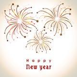 Tarjeta de felicitación de la celebración de la Feliz Año Nuevo con los fuegos artificiales Foto de archivo libre de regalías