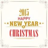 Tarjeta de felicitación de la celebración de la Feliz Año Nuevo y de la Feliz Navidad Fotos de archivo libres de regalías