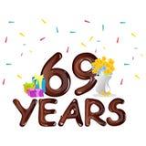 69.a tarjeta de felicitación de la celebración del cumpleaños Fotos de archivo
